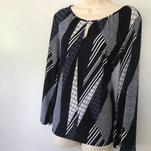 Dana Buchman Navy & White Long Sleeve Blouse